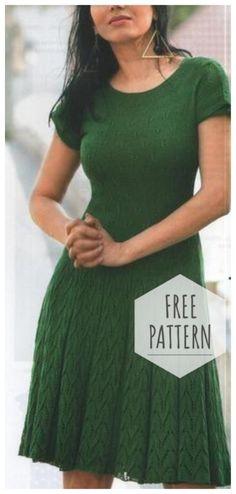 Green dress knitting pattern Butterfly