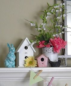 Need to get some bird houses for the spring mantle--ikea possibly for the flowerpot Summer Mantel, Seasonal Decor, Holiday Decor, Patriotic Decorations, Spring Decorations, Fireplace Mantle, Fireplace Decorations, Easter Crafts, Easter Decor