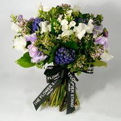 Hyacinth and Sweet Pea Bouquet - Hyacinths, Sweet Peas, Phlox and Seasonal Foliage.