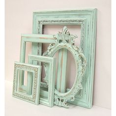 Shabby Chic Frames Pastel Mint Green Picture Frame Set Ornate Vintage... ($168) ❤ liked on Polyvore featuring home, home decor, frames, glass frames, wedding picture frames, 8x10 picture frames, 8x10 frames and mint green home decor
