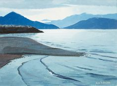 Alan Collier - Porteau Cove on Howe Sound 12 x 16 Oil on board Oil, Mountains, Board, Nature, Travel, Naturaleza, Viajes, Destinations, Traveling