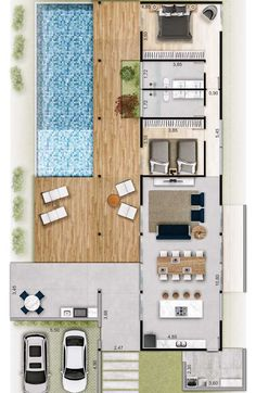 Make other deck into part of house for extra bedroom/office n move mudroom to side so have lg walkin pantry n window over sink Contemporary House Plans, Modern House Plans, Small House Plans, Small Space Interior Design, Small House Design, Modern House Design, House Layout Plans, House Layouts, Home Design Floor Plans