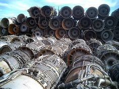 Salvaged GE-J79 fighter jet engines from F-4 Phantom aircraft in Tuscon, Arizona.