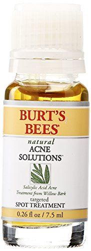 Keep blemishes at bay with Burt's Bees Natural Acne Solutions Targeted Spot Treatment Cream. It's clinically shown to help reduce the appearance of blemishes in 48 hours. Formulated with tea tree, calendula, yarrow, and parsley extracts, this 100% natural acne treatment helps calm and reduce redness while borage extract promotes healthy skin. #acnetreatment #acnesolution