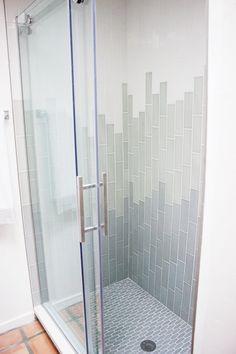 10 Ways To Use Subway Tile That Aren't Boring AF — FlippinWendy Design Ombre Shower Wall Subway Tile Zen Bathroom, Small Bathroom, Bathroom Ideas, Bathroom Showers, Shower Ideas, Modern Bathroom, Master Bathroom, Parisian Bathroom, Restroom Ideas