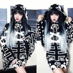 """""""The lovely @kinashen looking flawless in Spiritus Hood Dress by Killstar! Shop here> Beserk.com.au/killstar """""""