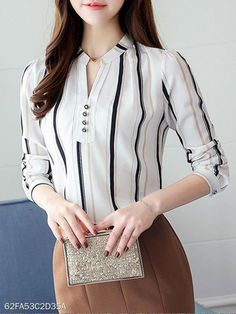 Spring Summer Chiffon Women V-Neck Decorative Button Striped Long Sleeve Blouses Formal Tops For Women, Short Sleeve Collared Shirts, Moda Chic, Casual Skirt Outfits, Chiffon, Striped Fabrics, Blouse Styles, Corsage, Street Style Women