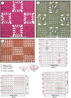 Crochet patterns - for your collection)) / Crochet / Crochet for beginners Crochet Stitches Chart, Filet Crochet Charts, Crochet Motifs, Crochet Diagram, Crochet Squares, Knitting Stitches, Crochet Doilies, Knitting Patterns, Knit Crochet