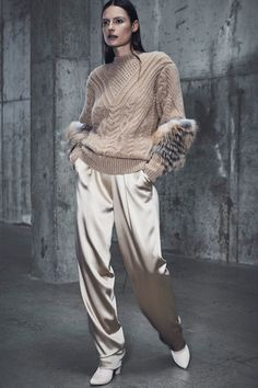 Cables, arans, ad fur trim sweater-  Sally LaPointe Pre-Fall 2018 Fashion Show Collection
