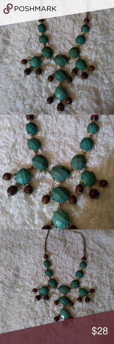 Brass and turquoise with wood statement necklace Brass and turquoise with wood Statement necklace Jewelry Necklaces