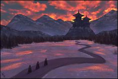 Temple - Spitpaint VI #195 by AngelGanev Asian Japanese Chinese landscape location environment architecture | Create your own roleplaying game material w/ RPG Bard: www.rpgbard.com | Writing inspiration for Dungeons and Dragons DND D&D Pathfinder PFRPG Warhammer 40k Star Wars Shadowrun Call of Cthulhu Lord of the Rings LoTR + d20 fantasy science fiction scifi horror design | Not Trusty Sword art: click artwork for source