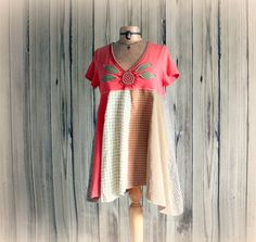Coral Boho Shirt Upcycled Clothes Women's Tunic Top Eco Friendly Bohemian Babydoll Hippie Chic Clothing Loose Fitting Lagenlook Top Large