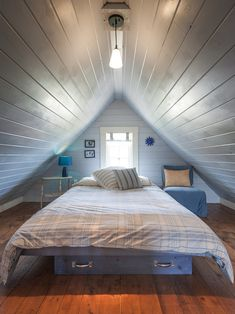 Attic Design, Captivating Decoration For Attic Of A House With Beach Style Bedroom Also Cool Single Bed Design Also Small Blue Table Light A...