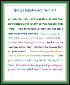 Free printable with tips for kids on how to be a Helpful Host/ess during the holidays!