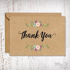 Wedding Thank You Card. Kraft Thank You Card. Rustic Thank You Card. Thank U Cards, Wedding Thank You Cards, Kraft Wedding Invitations, Wedding Programs, Happy Mothers Day Images, Wedding Order, Diy Cards, Rustic Wedding, Poetry