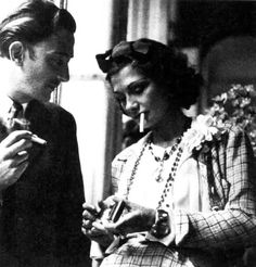 Salvador Dali and Coco Chanel changing the world? simply having a smoke? or maybe discussing the shocking disappearance of yet another American waif.