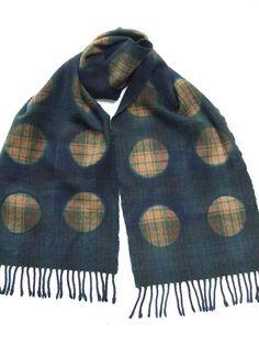Wool scarf hand dyed indigo tartan Japanese shibori by Flextiles, £30.00