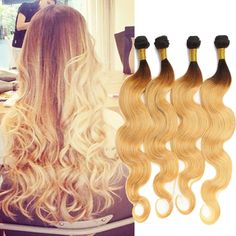 NEW style Ombre Human Hair Extensions 1b/27# Hair 2Tone Body Wave Weft 50g/pc #wigiss #HairExtension