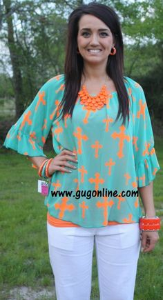 5f71525e3484 When Our Paths Cross Top in Jade with Neon Orange Crosses  34.95- 38.95  www.gugonline.com. Giddy Up Glamour