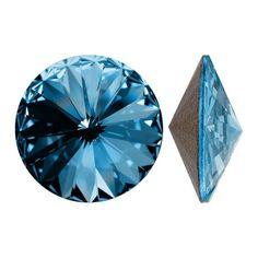 Swarovski Crystal, 1122 Rivoli Fancy Stones 18mm, 2 Pieces, Aquamarine