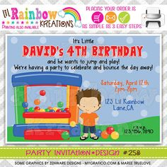 258 DIY Bounce House Fun 10 Party Invitation by LilRbwKreations