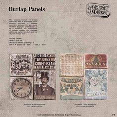 "Burlap panels - set of 4 panels: 2 - 6x6"", 1 - 4x6"", 1 - 6x8"""