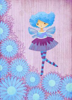 Children's Art Print  Aster Garden Fairy Art by TheFoxandTheTeacup, $10.00