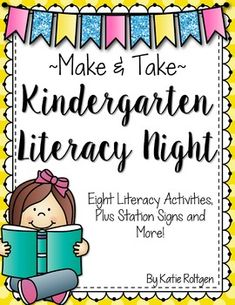 "Literacy Night - This download includes eight ""make and take"" literacy games and activities for a family or school wide literacy night event. Set up a station for each activity and families can go to each one to complete it. These then go home for additional student practice. Click through to grab the literacy activities and game, station signs, instructions, and other helpful information to set this up for your Kindergarten students."