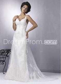 Elegant Empire V-neck Spaghetti Straps Chapel Train Lace Wedding Dress  LOVE LOVE LOVE THIS ONE! FRONT RUNNER!