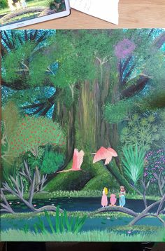 Painted this for my brothers birthday. Mana tree from Secret of Mana.