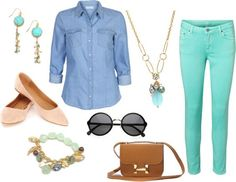 Image result for outfit ideas turquoise jeans