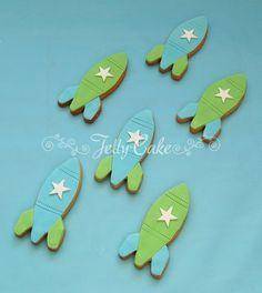 Green & Blue Spaceship Cookies