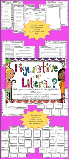 Introduce or practice recognizing the differences between literal and figurative language. Students can immediately practice the skills taught in your lesson with the T-Charts and the Sort Cards. Remediation cards are included for those needing more support. The tips I've provided have been successfully used in my classroom for years. The additional simile/metaphor mini-lessons tips are from my classroom experience as well.