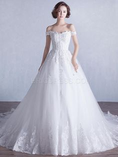 Ericdress Elegant Off the Shoulder Appliques A Line Wedding Dress Wedding Dresses 2015- ericdress.com 11460610