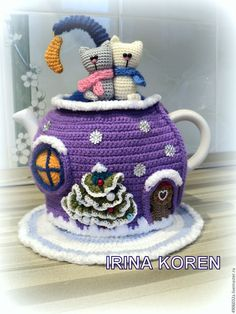 """Купить Грелка на чайник. """"Новогодняя сказка"""" - комбинированный, грелка на чайник вязаная, кухонный интерьер, для кухни"""