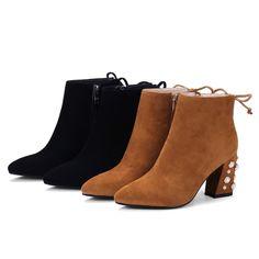 Fashion Women Ladies Sheepskin Block High Heel Ankle Boots Winter Daily Wear Short Boots Shoes