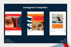 Thompson Social Media Template – Free Design Resources Social Media Banner, Social Media Template, Story Template, Free Design, Photoshop, Templates, Instagram, Stencils, Template