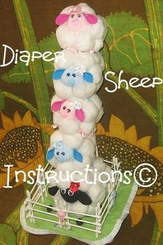 Diaper SHEEP - LAMB instructions. Don't be SHEEPISH great baby shower gift, diaper cake topper. $5.99, via Etsy.