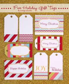 Holiday Free Printable Gift Tags by Amy at LivingLocurto.com #Christmas