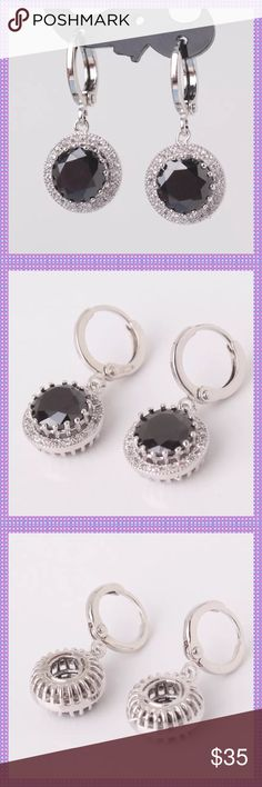 Black Swarovski Crystal Huggable Earrings ⭐️⭐️GORGEOUS Black Diamond Cut Swarovski Crystals set in 18K White Gold Filled Setting with Clear Swarovski Crystal surrounding it, Huggable Dangling Pierced Earrings! Absolutely stunning!⭐️⭐️ Boutique Jewelry Earrings