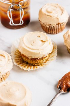 Caramel Filled Banana Cupcakes with Brown Sugar Cinnamon Frosting