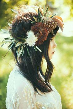 Bridal Hairstyles : 18 Stunning Greenery Wedding Hair Ideas See more: www. Fall Flower Crown, Flower Crown Wedding, Bridal Flowers, Flowers In Hair, Dark Flowers, Flower Hair Garland, Flower Crown Hair, Wedding Crowns, Bridal Crown