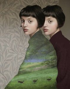 Doppia Natura (Dual Nature) by Daria Petrilli. ~via Daria Petrilli, FB Art And Illustration, Animal Illustrations, Fashion Illustrations, Character Illustration, Daria Petrilli, Art Du Collage, Illustrator, Figurative Kunst, Kunst Online