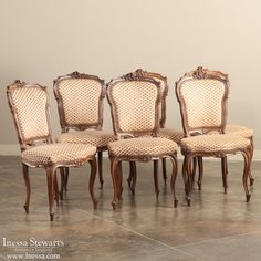Charmant Antique Dining Room Furniture | Dining Chairs | Set Of 6 Louis XV Walnut  Chairs |