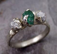 Three raw Stone Diamond Emerald Engagement Ring 14k white Gold Wedding Ring Uncut Birthstone Stacking Ring