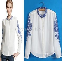 Wholesale NEW ARRIVAL FASHION STYLE PRINT BLUN AND WHITE PORCELAIN WOMEN'S BLOUSE BEAUTIFUL GEORGETTE BLOUSE, $11.39-14.15/Piece | DHgate