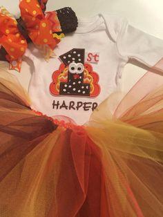 Newborn Thanksgiving tutu onesie set FIRST by MelleeAndMeBows