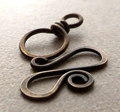 Handmade findings - Large antiqued brass spiral clasp Brass Jewelry by dmsupply