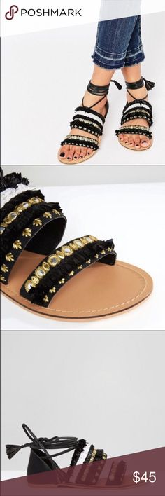 New ASOS Black & Gold Mirrored Ankle Strap Sandals Brand new, didn't come with attached tags but never worn as you can tell! My feet have recently grown from an 8 to an 8.5 in the last year so I'm sad I never got to wear these but I know someone else could enjoy them! Fast same or next day shipping!📨 Open to offers but I don't negotiate in the comments so please use the offer button😊 ASOS Shoes Sandals