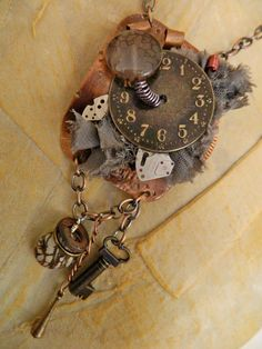 Steam Punk Necklace - Metal Chain - Watch Parts - $45